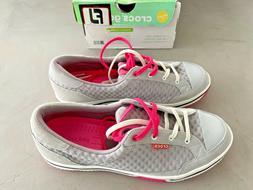 Crocs Womens Women's 15372 Drayden Golf Shoe,Light Grey/Vibr