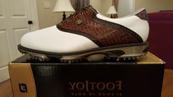 2015 Footjoy Dryjoys Tour Mens Golf Shoes 53612 NEW Wh/Brn 1