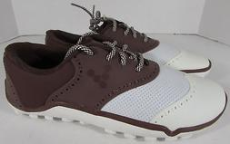 $219 Vivobarefoot Mens Linx Oxford Golf Shoes, Chocolate/Whi