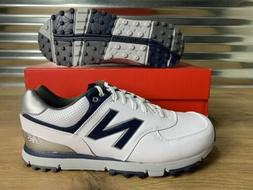 New Balance 574 Spikeless Golf Shoes White Navy Blue Silver