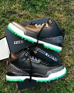 9 MEN'S Nike Air Jordan 3 Golf Shoes Cleats Black Green Glow