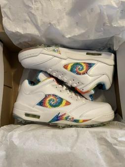 Nike Air Jordan 5 Low G size 9 Tie Dye Love & Peace golf sho