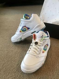 Nike Air Jordan 5 V Low G Tie Dye Love & Peace Golf Shoes CW