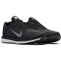 NIKE Men's Air Zoom Winflo 5 Running Shoe, Black/Metallic Pe