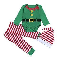 Baby Christmas Stripe Printed Lace + Pants + Hat Three-Piece