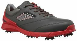 ECCO Men's Base One Golf Shoe, Black/Scarlet Hydromax, 42 EU