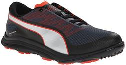 PUMA Men's Biodrive Golf Shoe, Black/Turbulence/Puma Red, 10