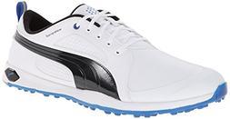 PUMA Men's Biofly Golf Shoe, White/Black/Strong Blue, 14 M U