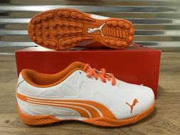 PUMA BioFusion Junior Golf Shoes White Vibrant Orange Youth