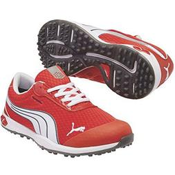 PUMA Men's Biofusion Spikeless Mesh Golf Shoe,Grenadine/Whit