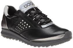 ECCO Women's Biom Hybrid 2 Golf Shoe,Black/Buffed Silver,41