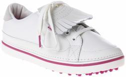 Crocs Women's Bradyn Golf Shoe,White/Fuchsia,5 M US