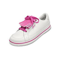 Crocs Women's Bradyn Golf Shoe,White/Fuchsia,5 M US
