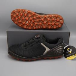 ECCO Cage Pro BOA Golf Shoes Spikeless Black Orange Silver E