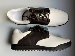Ashworth Cardiff Saddle Men's Golf Shoes, Size 10 White/Brow