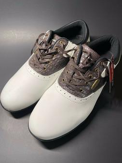Orlimar Men's Classic Spikeless Golf Shoes, White/Brown/Blac