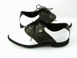 Etonic Comfort Golf Shoes Mens Sz 9.5 Wide Brown White Saddl