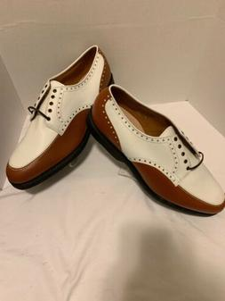 Allen Edmonds Devonshire Men Brown & White Leather Golf Shoe