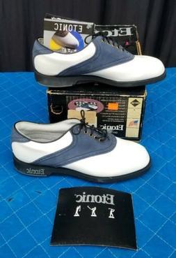 Etonic Dri-Tech Golf Shoes Blue & White Saddle Womens Sz 7 M