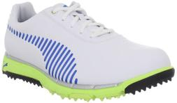 PUMA Men's Faas Grip Golf Shoe,White/Directoire Blue/Green,1