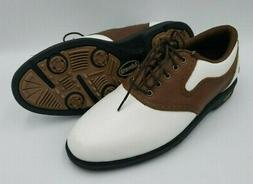 Ashworth Footwear Mens Golf Shoes Size 8 Leather White Brown