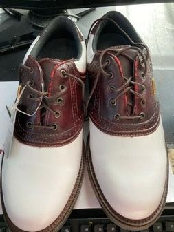 Ashworth Footwear Mens Golf Shoes SZ 9 Leather White Brown L