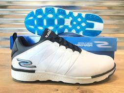 Skechers Go Golf Elite V.3 Golf Shoes White Navy Blue Mens E