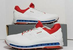 ECCO Golf Cool 18 GTX Gore-Tex Golf Shoes White Red Blue USA