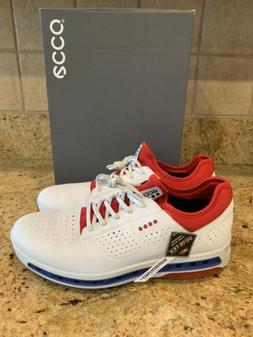 ECCO Golf Cool 18 GTX Gore-Tex Golf Shoes White Red Blue