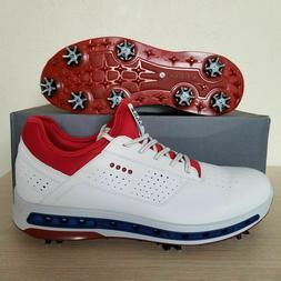 ECCO Golf Cool 18 GTX Gore-Tex Golf Shoes White Red Blue USA