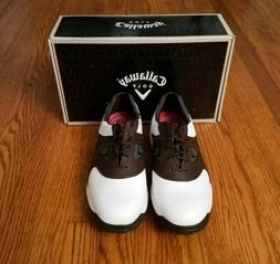 Callaway Golf Shoes Men's 11 Wide White Brown New Age Saddle