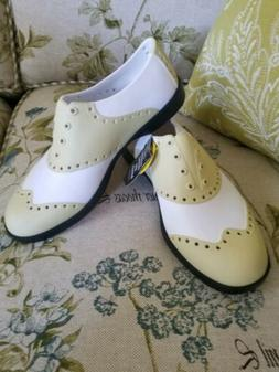 Biion Golf Shoes Women's 8/Mens 6   White Pale Yellow Spikel