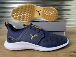 PUMA Ignite NXT Lace Spikeless Golf Shoes Peacoat Blue Gold