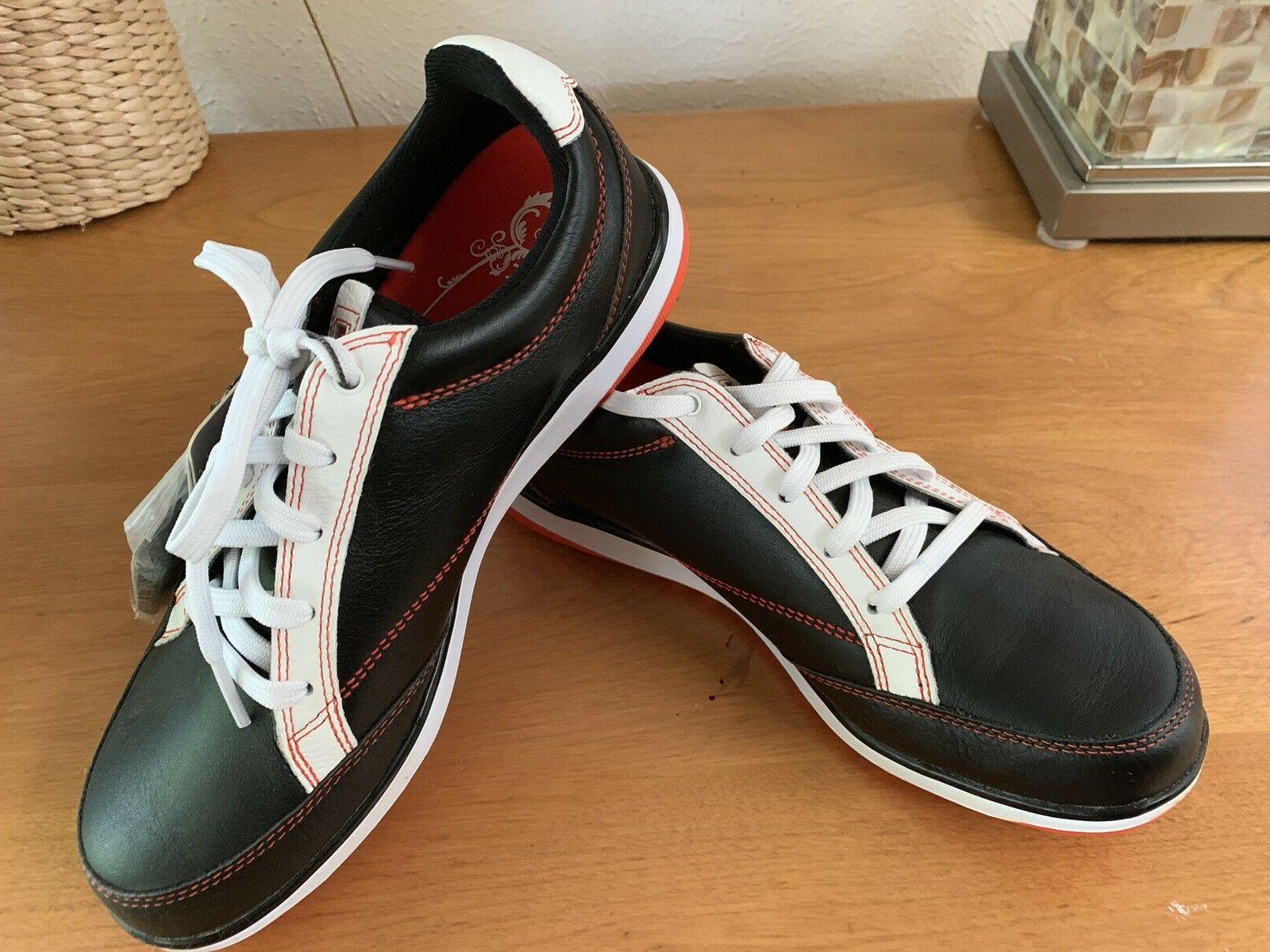 Ashworth Cardiff Womens Shoe 6.5 Black/Orange Leather