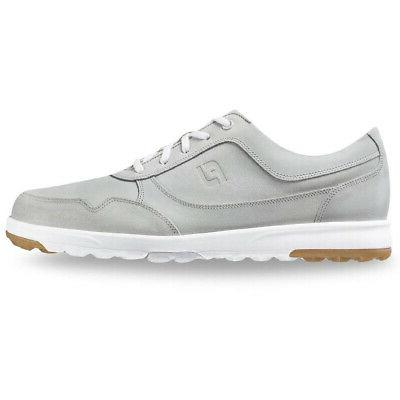 casual spikeless golf shoes grey waxed suede