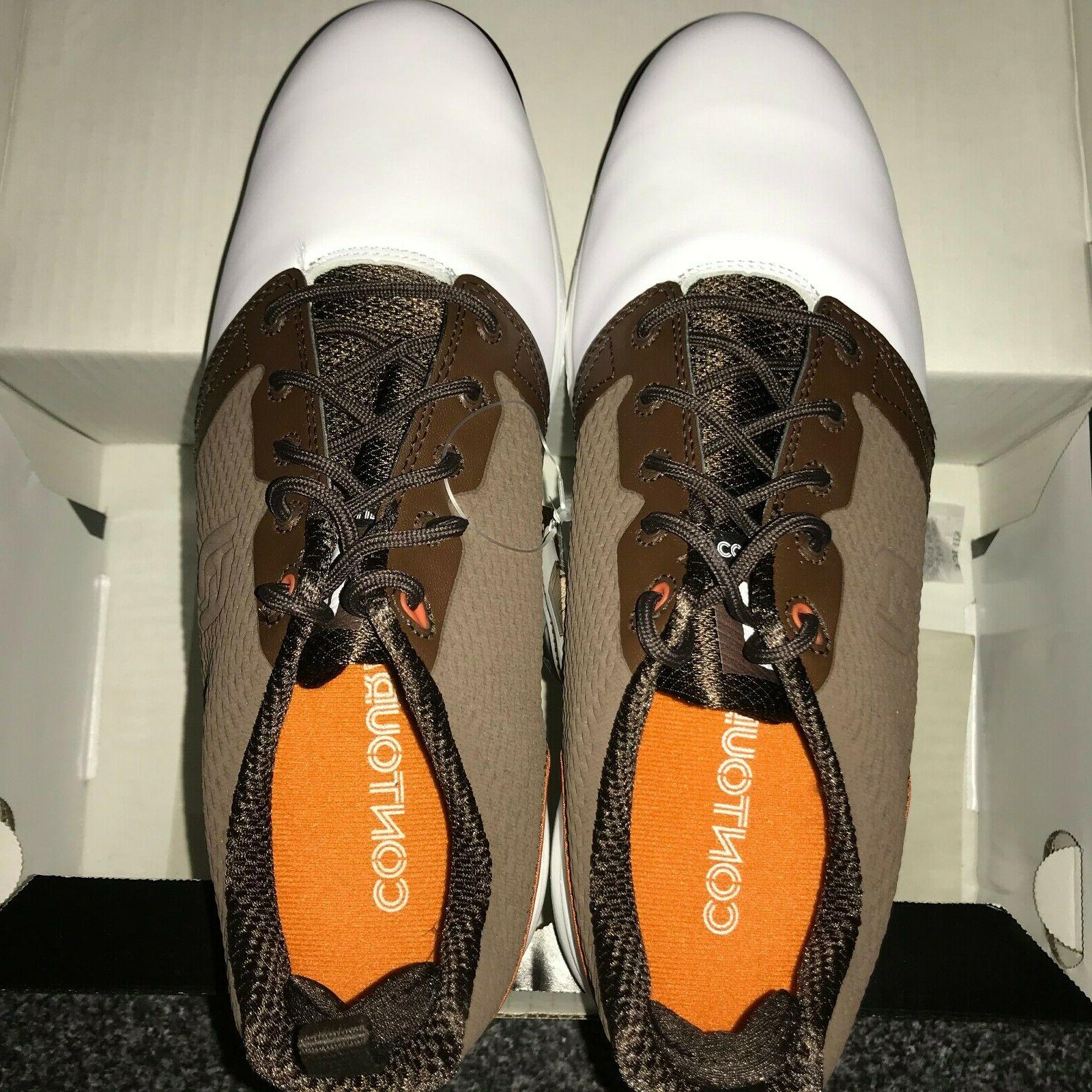 FootJoy Contour Fit Men's Golf Shoes New White/Brown 8, 9, 9