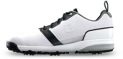 contour fit spiked golf shoes white black