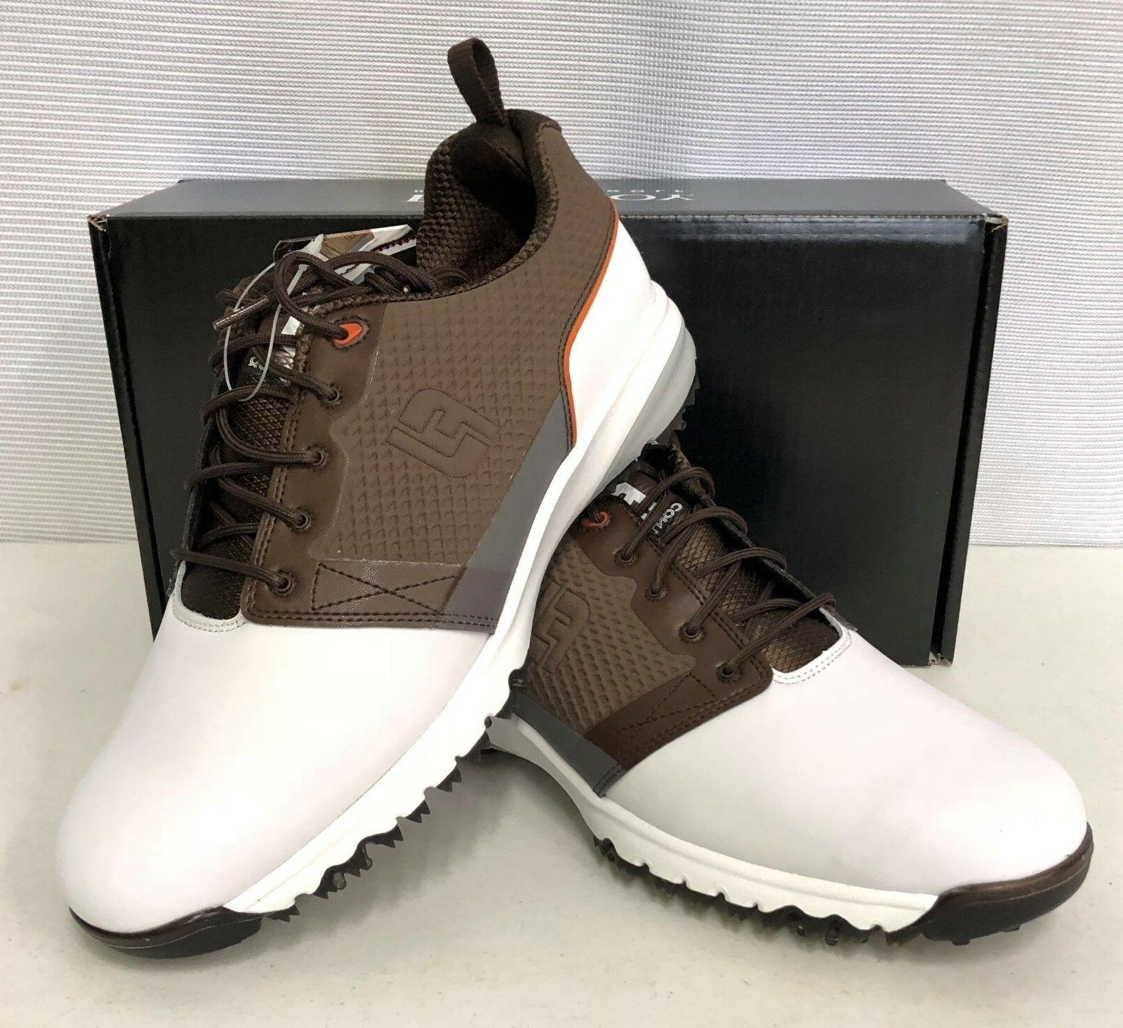 contourfit mens golf shoes white brown 54096