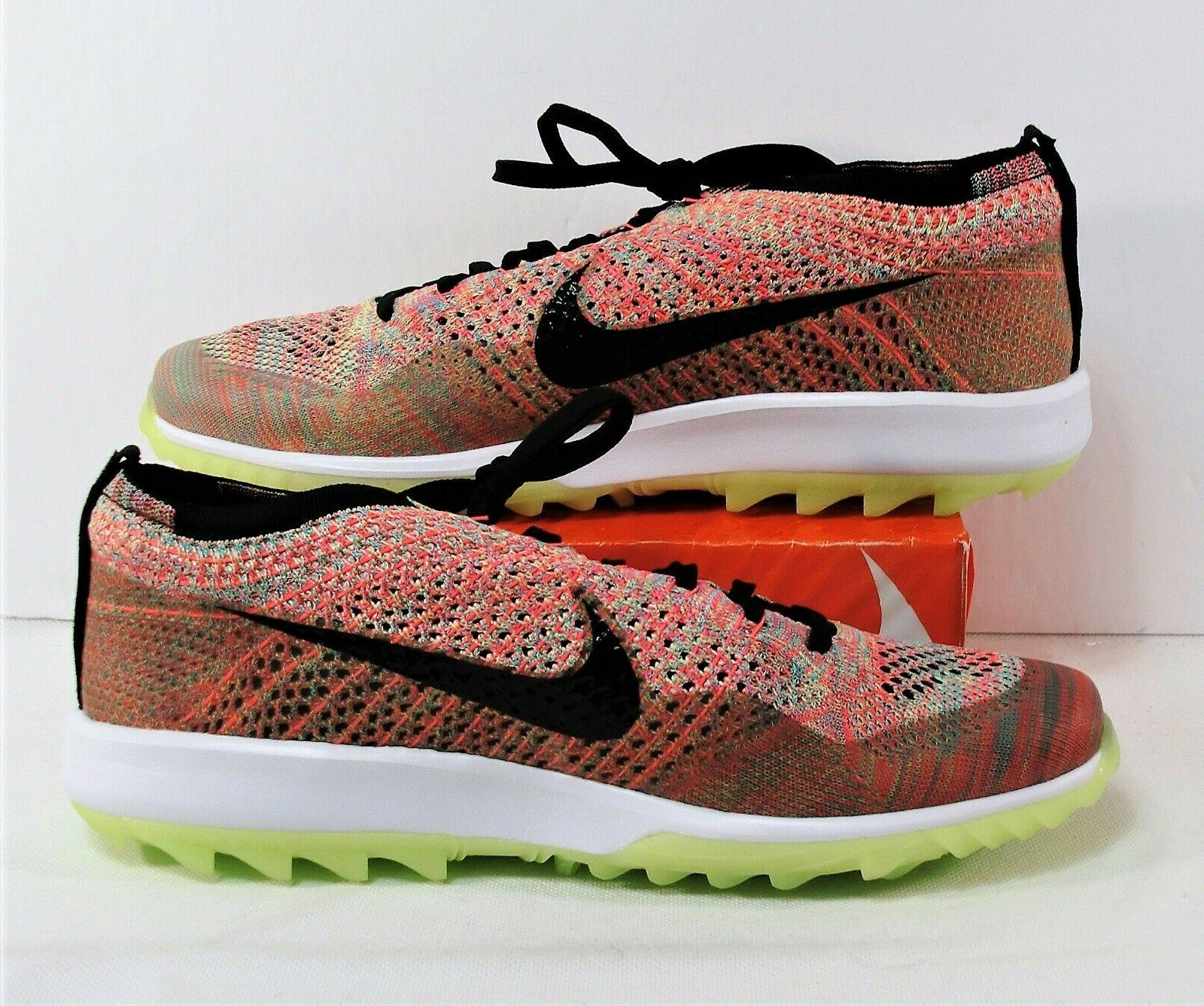 NIke Flyknit Racer Spikeless Multi Color Golf Shoes Sz 10 909756
