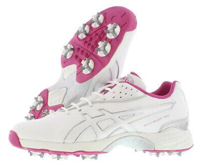 ASICS Women's Golf Shoe,White/Orchid/Silver,9.5