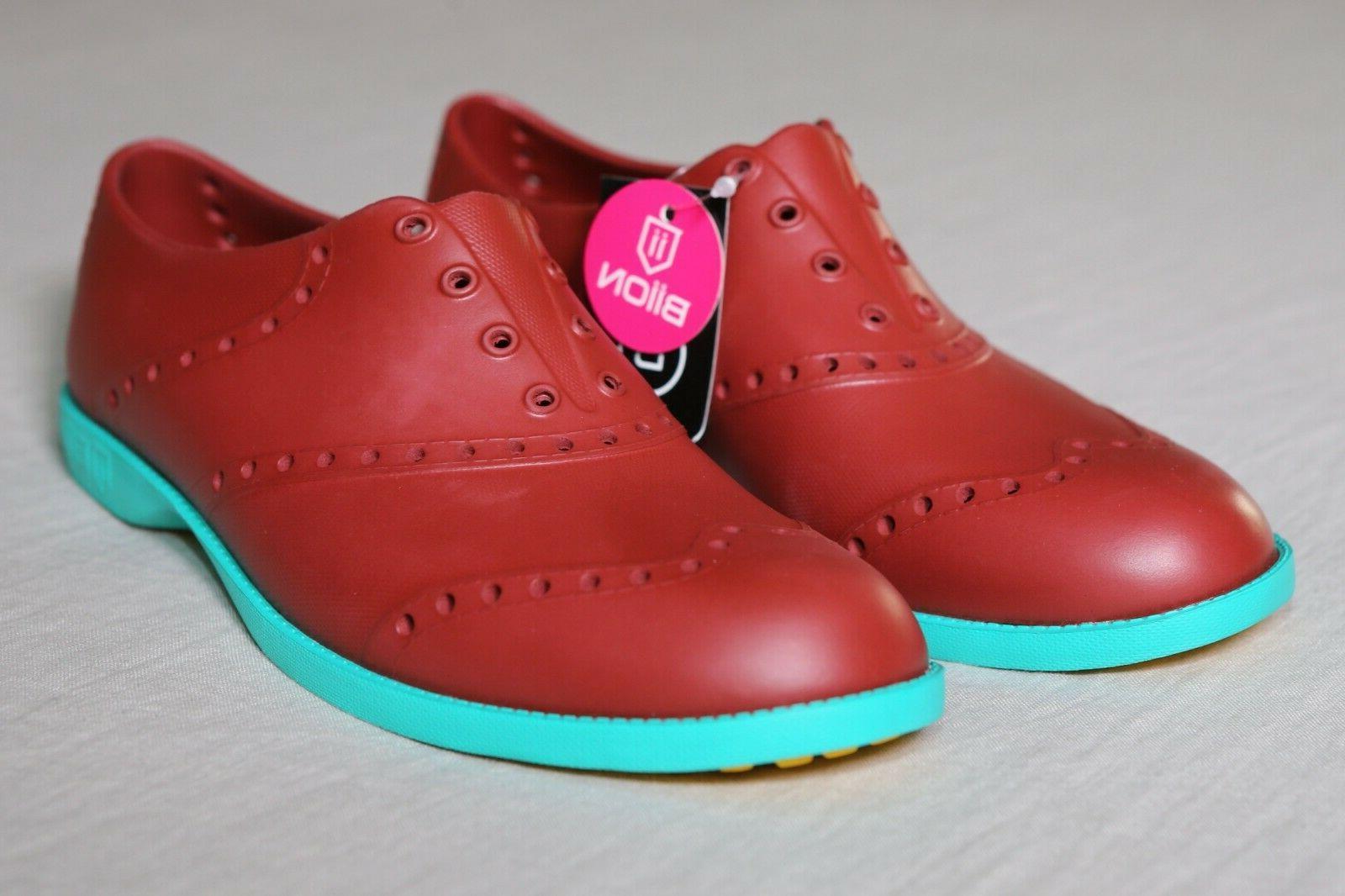 golf shoes brick red teal men s