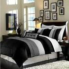 Luxury Stripe Full Size 8 Piece Black Grey and White Bedding