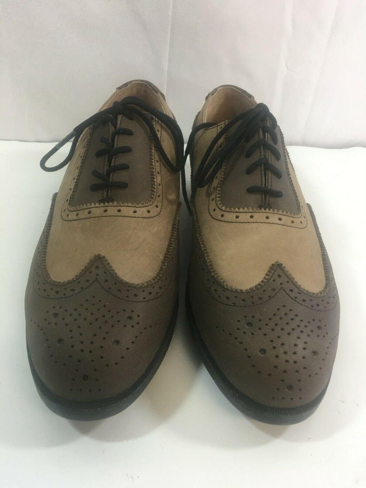 Ashworth Mens 9.5 M Brown Leather Lace Golf Shoes new