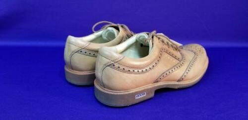 ECCO GOLF SHOES SPIKELESS SADDLE LEATHER SZ. 10 -