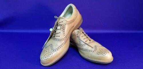mens golf shoes spikeless saddle wingtip brown