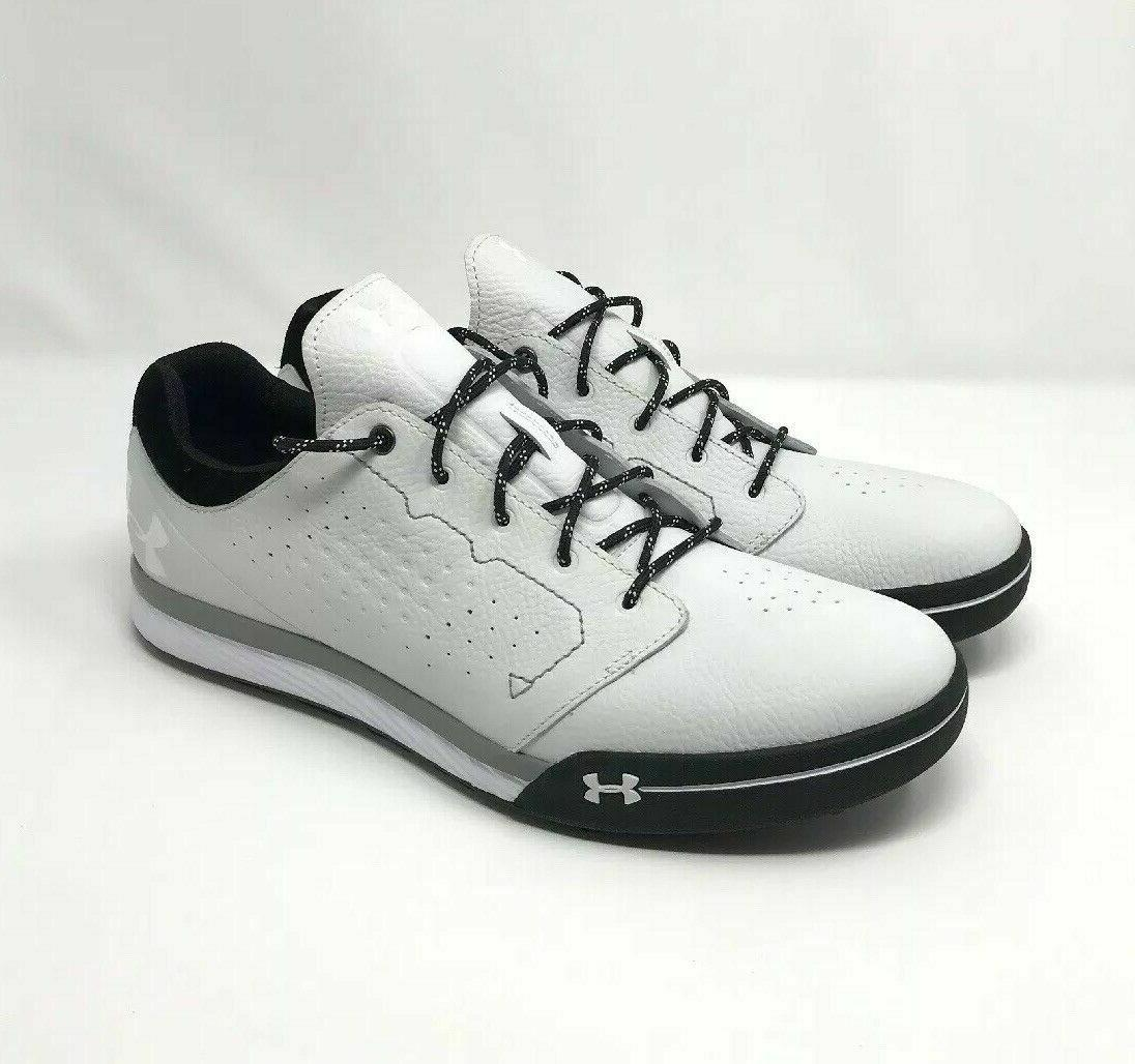 mens white spike less golf shoes size