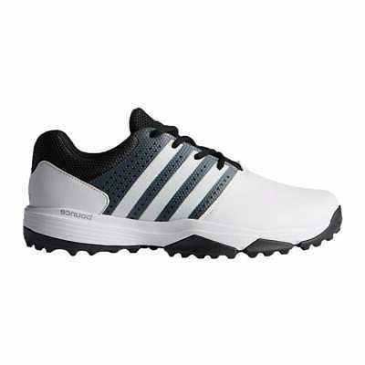 New Men's Adidas 360 Traxion Golf Shoes White/Black/Met. Sil