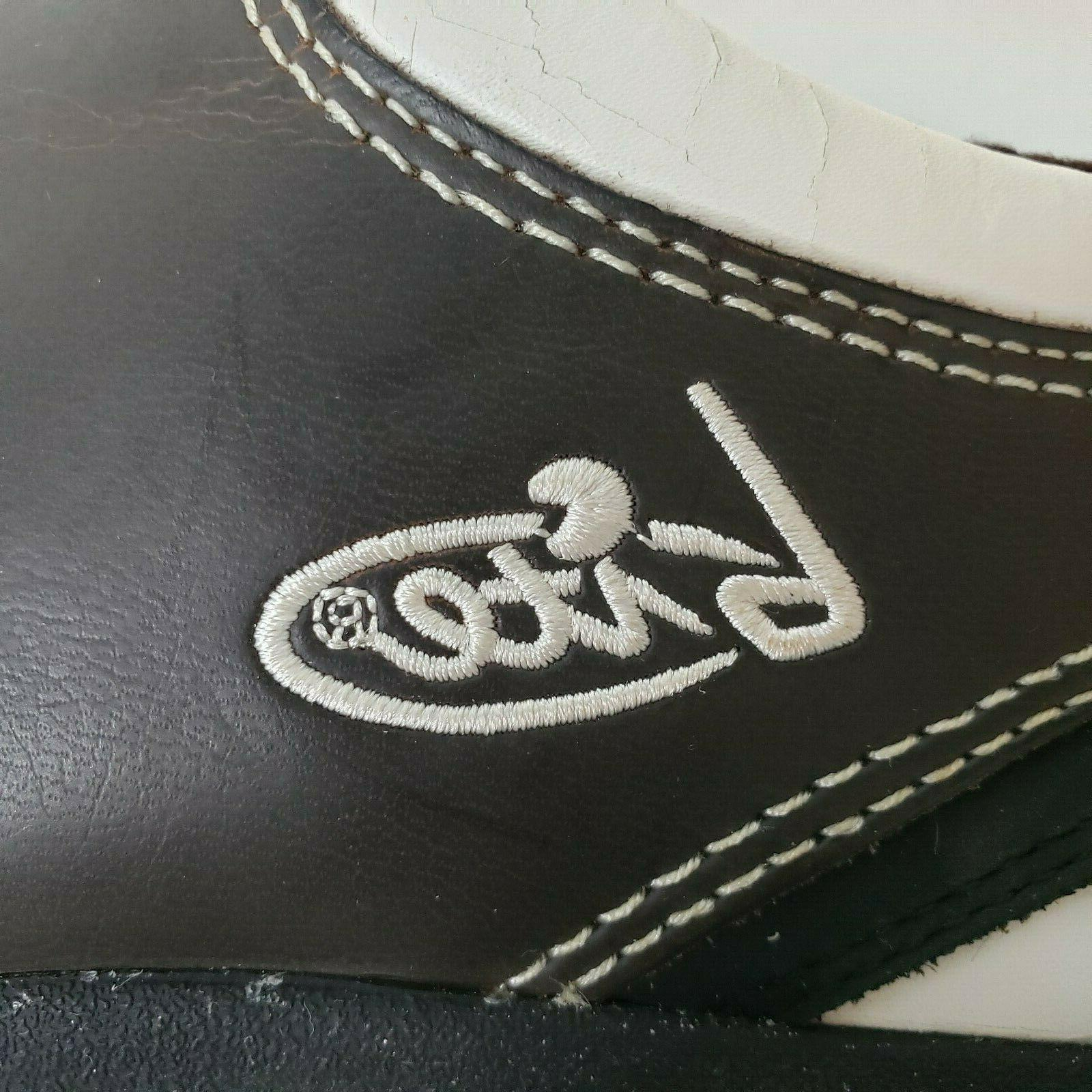 Golf Shoes Brown White 2501A Leather Spikes