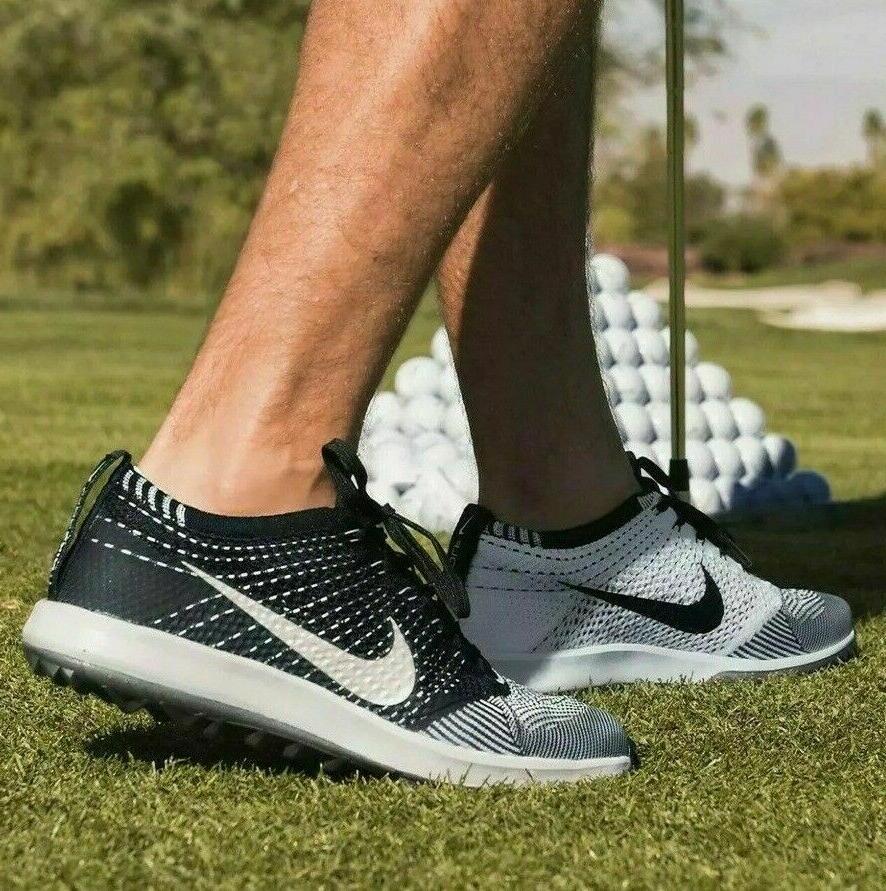 Nike Flyknit Racer G Men's Golf Shoes 909756 001 Black White NIB