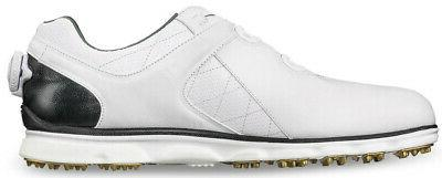 Footjoy Pro Boa Spikeless Golf Shoes White/Black - Width